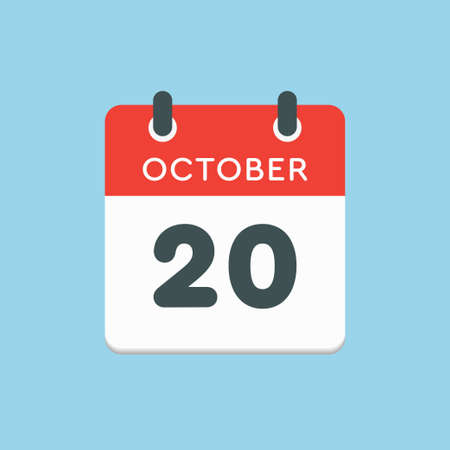 Vector icon calendar day - 20 October. Days of the year vector illustration flat style. Date day of month Sunday, Monday, Tuesday, Wednesday, Thursday, Friday, Saturday. Autumn holidays in October. Illustration