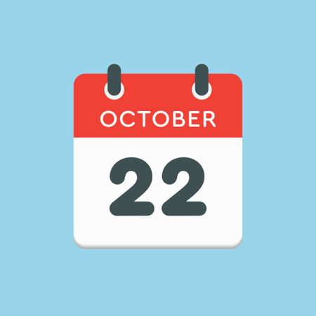 Vector icon calendar day - 22 October. Days of the year vector illustration flat style. Date day of month Sunday, Monday, Tuesday, Wednesday, Thursday, Friday, Saturday. Autumn holidays in October.