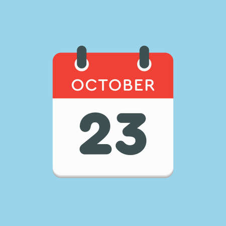 Vector icon calendar day - 23 October. Days of the year vector illustration flat style. Date day of month Sunday, Monday, Tuesday, Wednesday, Thursday, Friday, Saturday. Autumn holidays in October. Illustration