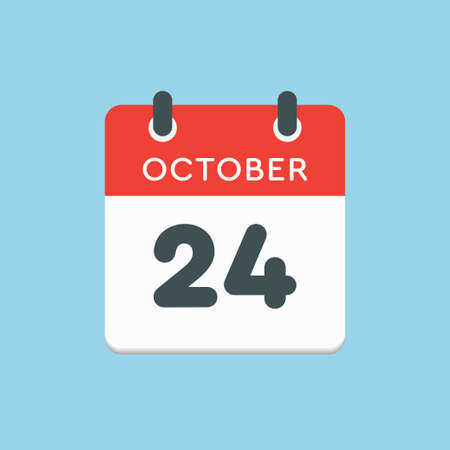 Vector icon calendar day - 24 October. Days of the year vector illustration flat style. Date day of month Sunday, Monday, Tuesday, Wednesday, Thursday, Friday, Saturday. Autumn holidays in October.