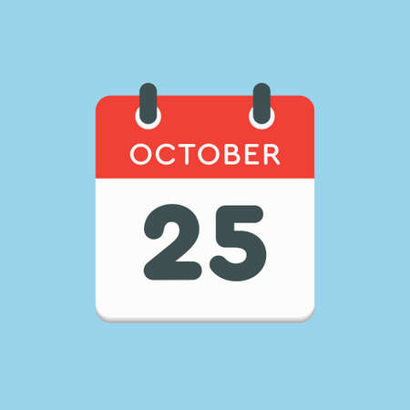 Vector icon calendar day - 25 October. Days of the year vector illustration flat style. Date day of month Sunday, Monday, Tuesday, Wednesday, Thursday, Friday, Saturday. Autumn holidays in October.