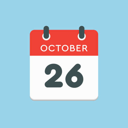 Vector icon calendar day - 26 October. Days of the year vector illustration flat style. Date day of month Sunday, Monday, Tuesday, Wednesday, Thursday, Friday, Saturday. Autumn holidays in October.