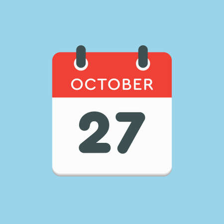 Vector icon calendar day - 27 October. Days of the year vector illustration flat style. Date day of month Sunday, Monday, Tuesday, Wednesday, Thursday, Friday, Saturday. Autumn holidays in October. Illustration