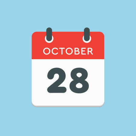 Vector icon calendar day - 28 October. Days of the year vector illustration flat style. Date day of month Sunday, Monday, Tuesday, Wednesday, Thursday, Friday, Saturday. Autumn holidays in October.