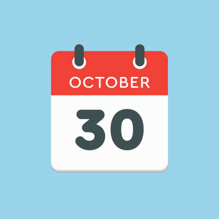 Vector icon calendar day - 30 October. Days of the year vector illustration flat style. Date day of month Sunday, Monday, Tuesday, Wednesday, Thursday, Friday, Saturday. Autumn holidays in October.