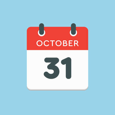 Vector icon calendar day - 31 October. Days of the year vector illustration flat style. Date day of month Sunday, Monday, Tuesday, Wednesday, Thursday, Friday, Saturday. Autumn holidays in October.