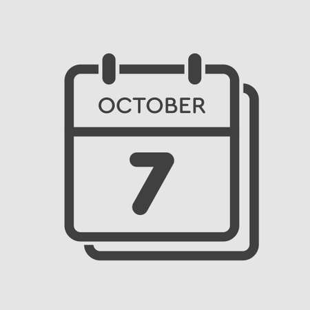 Vector icon calendar day - 7 October. Days of the year vector illustration flat style. Date day of month Sunday, Monday, Tuesday, Wednesday, Thursday, Friday, Saturday. Autumn holidays in October.