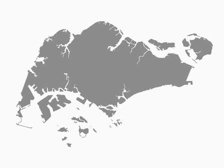 Detailed vector Singapore country border map isolated on background. East islands country template for pattern, report, infographic, banner. Asia nation business silhouette sign concept