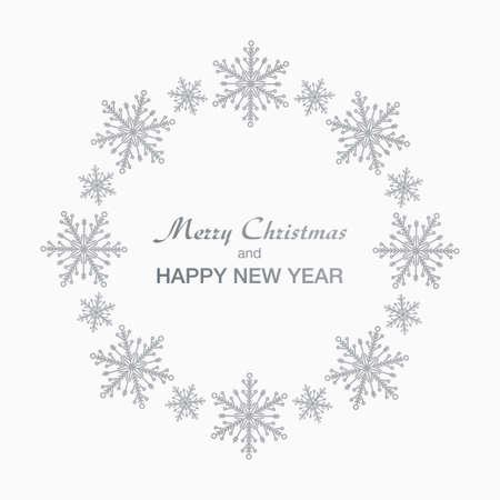 Christmas and New Year wreath made of shining silver snow flakes. Vektoros illusztráció