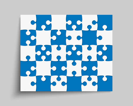 Background made with 30 pieces puzzle. Vector rectangle banner jigsaw template with particles, details, tiles, parts. Frame pattern for education and presentation with element piece puzzle.