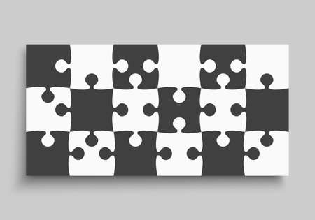 Background made with black white pieces puzzle. Vector rectangle banner jigsaw template with particles, details, tiles, parts. Frame pattern for education and presentation with element piece puzzle.