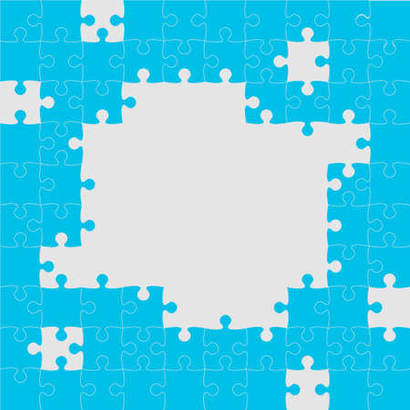 Background frame made with blue pieces puzzle. Vector square banner jigsaw template with particles, details, tiles, parts. Pattern for education and presentation with element piece puzzle. pieces puzzle jigsaw, frame