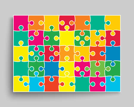 Background made with 42 color pieces puzzle. Vector rectangle banner jigsaw template with particles, details, tiles, parts. Frame pattern for education and presentation with element piece puzzle. Illustration