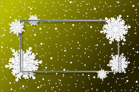 Merry Christmas and New Year celebration background with shining snow and big white snowflakes. Winter vector frame, background, banner, poster, card.