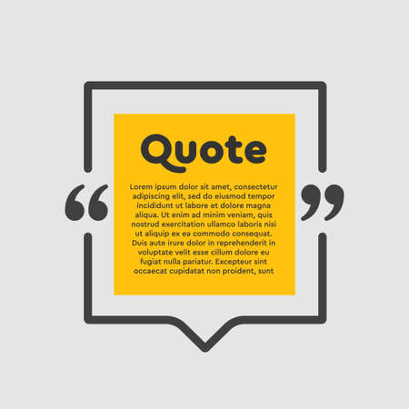 Vector background template for quote with bracket. Speech bubble with bracket. Empty frame for messages. Business card template information text message. Quote text form for motivation inspiration.