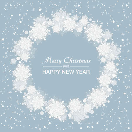 Blue background for Christmas and New Year - wreath made of shining snow flakes. Celebration circle frame decoration with snowflakes. Greeting festive Invitation - banner, poster, card.