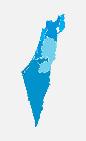 Detailed vector Israel country outline border map isolated on background. State template Near East trip pattern, report, infographic, backdrop. Asia nation business silhouette sign concept.