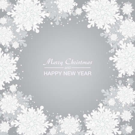 Background for Christmas and New Year - wreath made of shining snow flakes. Celebration circle frame decoration with snowflakes. Greeting festive Invitation - banner, poster, card.