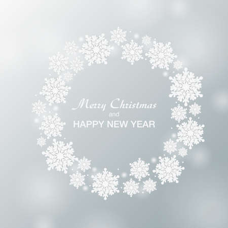 Festive background for Christmas and New Year - wreath made of shining snow flakes. Celebration circle frame decoration with snowflakes. Greeting festive Invitation - banner, poster, card. Vettoriali