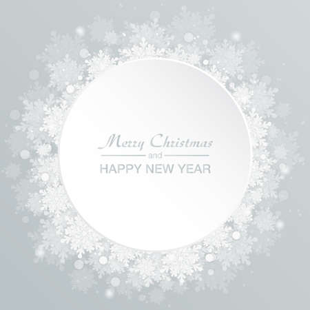 Background white circle for Christmas and New Year - wreath made of shining snow flakes. Celebration circle frame decoration with snowflakes. Greeting festive Invitation - banner, poster, card. Vettoriali