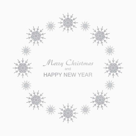 Background for Christmas and New Year - wreath made of shining silver snow flakes. Celebration circle frame decoration with snowflakes. Greeting festive Invitation - banner, poster, card.