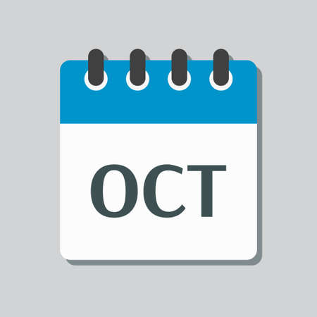Vector icon calendar autumn month - October. Sign of the year. Vector icon illustration flat style. Date day of month Sunday, Monday, Tuesday, Wednesday, Thursday, Friday, Saturday. Holidays date. Vettoriali