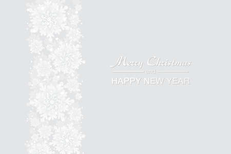 Merry Christmas and New Year celebration white background with shining snow and big white snowflakes. Winter vector background, banner, poster, card, frame. Vettoriali