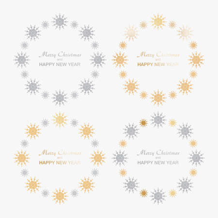 Background for Christmas and New Year - wreath made of shining colorful snow flakes. Celebration circle frame decoration with snowflakes. Greeting festive Invitation - banner, poster, card. Vettoriali