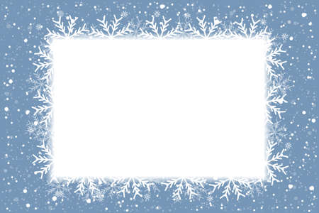Merry Christmas and New Year celebration background with shining snow and big white snowflakes. Winter vector background, banner, poster, card, frame. Vettoriali
