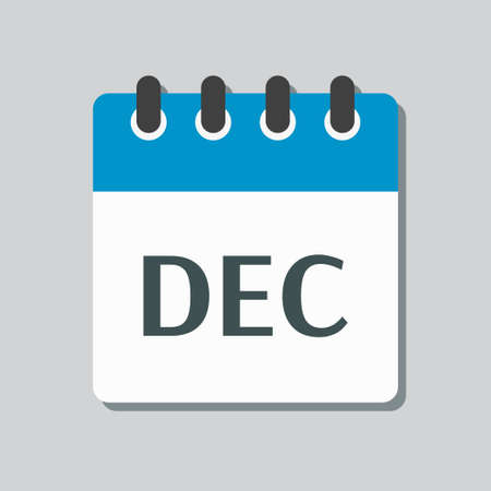 Vector icon calendar winter month - December. Sign of the year. Vector icon illustration flat style. Date day of month Sunday, Monday, Tuesday, Wednesday, Thursday, Friday, Saturday. Holidays date. Vettoriali