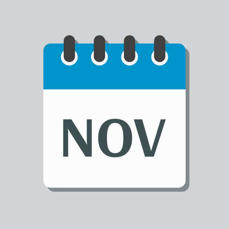 Vector icon calendar autumn month - November. Sign of the year. Vector icon illustration flat style. Date day of month Sunday, Monday, Tuesday, Wednesday, Thursday, Friday, Saturday. Holidays date.