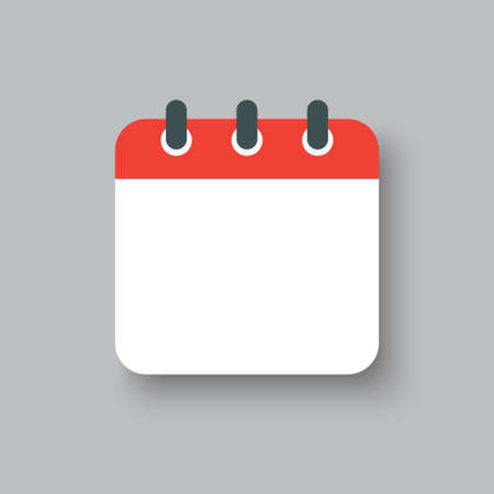 Vector square icon calendar day. Empty space for vector illustration flat style. Date day of month Sunday, Monday, Tuesday, Wednesday, Thursday, Friday, Saturday. Vettoriali