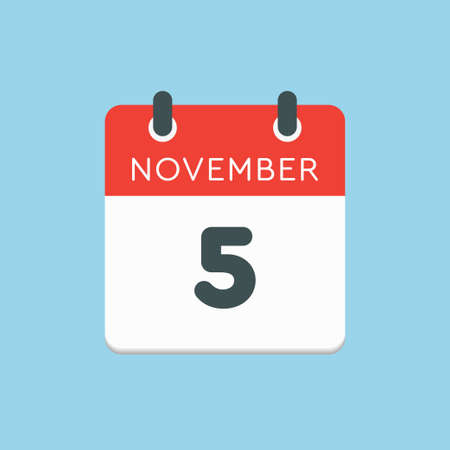 Vector icon calendar day - 5 November. Days of the year vector illustration flat style. Date day of month Sunday, Monday, Tuesday, Wednesday, Thursday, Friday, Saturday. Autumn holidays in November. Vettoriali