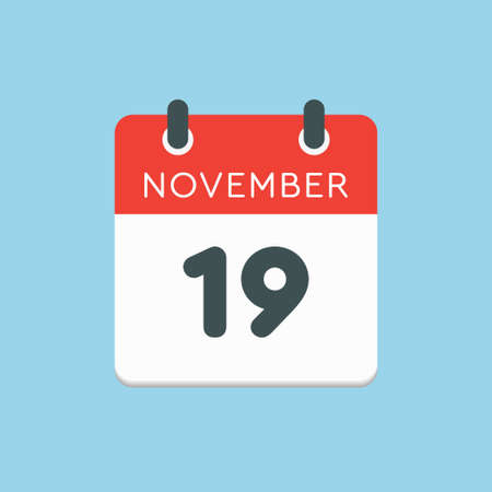 Vector icon calendar day - 19 November. Days of the year vector illustration flat style. Date day of month Sunday, Monday, Tuesday, Wednesday, Thursday, Friday, Saturday. Autumn holidays in November. Vettoriali