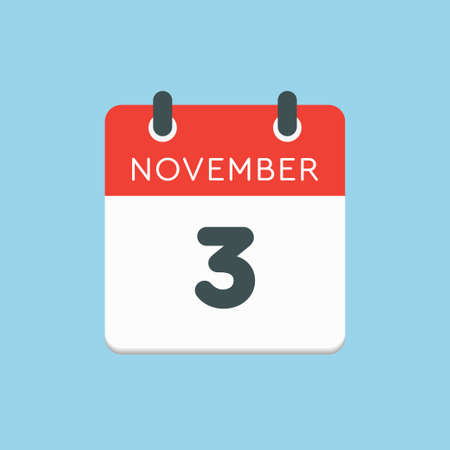 Vector icon calendar day - 3 November. Days of the year vector illustration flat style. Date day of month Sunday, Monday, Tuesday, Wednesday, Thursday, Friday, Saturday. Autumn holidays in November.
