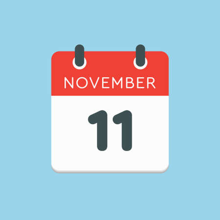 Vector icon calendar day - 11 November. Days of the year vector illustration flat style. Date day of month Sunday, Monday, Tuesday, Wednesday, Thursday, Friday, Saturday. Autumn holidays in November.