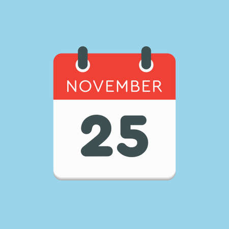 Vector icon calendar day - 25 November. Days of the year vector illustration flat style. Date day of month Sunday, Monday, Tuesday, Wednesday, Thursday, Friday, Saturday. Autumn holidays in November. Vettoriali