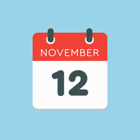 Vector icon calendar day - 12 November. Days of the year vector illustration flat style. Date day of month Sunday, Monday, Tuesday, Wednesday, Thursday, Friday, Saturday. Autumn holidays in November.