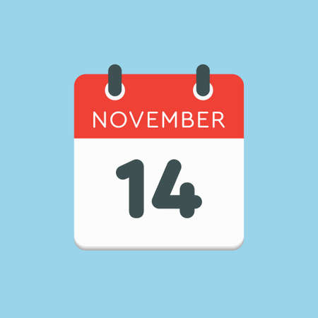 Vector icon calendar day - 14 November. Days of the year vector illustration flat style. Date day of month Sunday, Monday, Tuesday, Wednesday, Thursday, Friday, Saturday. Autumn holidays in November.