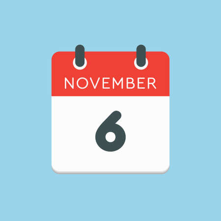 Vector icon calendar day - 6 November. Days of the year vector illustration flat style. Date day of month Sunday, Monday, Tuesday, Wednesday, Thursday, Friday, Saturday. Autumn holidays in November. Vettoriali