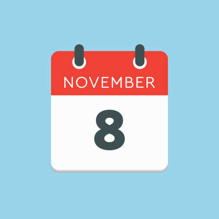 Vector icon calendar day - 8 November. Days of the year vector illustration flat style. Date day of month Sunday, Monday, Tuesday, Wednesday, Thursday, Friday, Saturday. Autumn holidays in November.
