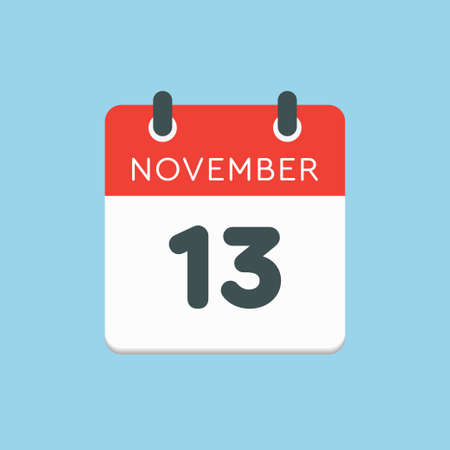Vector icon calendar day - 13 November. Days of the year vector illustration flat style. Date day of month Sunday, Monday, Tuesday, Wednesday, Thursday, Friday, Saturday. Autumn holidays in November.