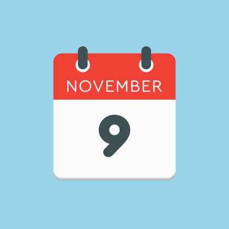 Vector icon calendar day - 9 November. Days of the year vector illustration flat style. Date day of month Sunday, Monday, Tuesday, Wednesday, Thursday, Friday, Saturday. Autumn holidays in November. Vettoriali