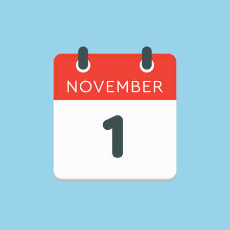 Vector icon calendar day - 1 November. Days of the year vector illustration flat style. Date day of month Sunday, Monday, Tuesday, Wednesday, Thursday, Friday, Saturday. Autumn holidays in November.