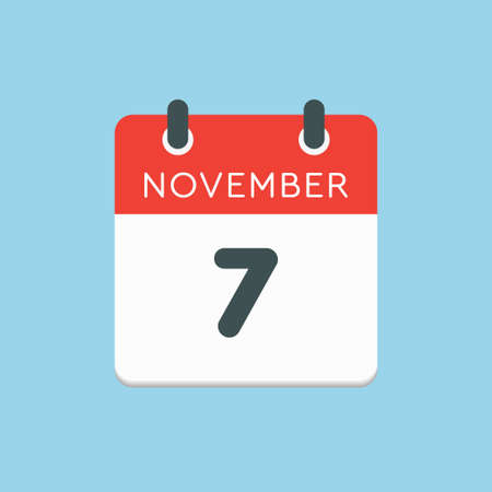 Vector icon calendar day - 7 November. Days of the year vector illustration flat style. Date day of month Sunday, Monday, Tuesday, Wednesday, Thursday, Friday, Saturday. Autumn holidays in November. Vettoriali