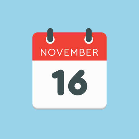 Vector icon calendar day - 16 November. Days of the year vector illustration flat style. Date day of month Sunday, Monday, Tuesday, Wednesday, Thursday, Friday, Saturday. Autumn holidays in November. Vettoriali