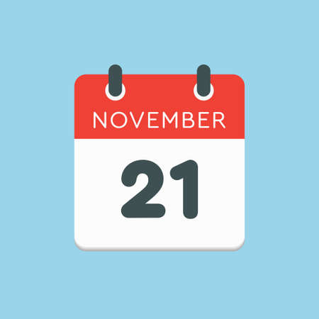 Vector icon calendar day - 21 November. Days of the year vector illustration flat style. Date day of month Sunday, Monday, Tuesday, Wednesday, Thursday, Friday, Saturday. Autumn holidays in November.