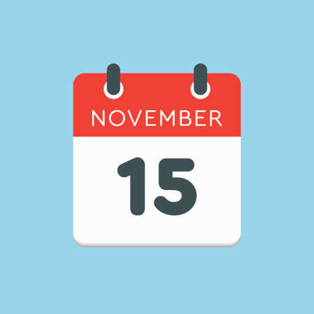 Vector icon calendar day - 15 November. Days of the year vector illustration flat style. Date day of month Sunday, Monday, Tuesday, Wednesday, Thursday, Friday, Saturday. Autumn holidays in November. Vettoriali