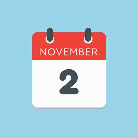 Vector icon calendar day - 2 November. Days of the year vector illustration flat style. Date day of month Sunday, Monday, Tuesday, Wednesday, Thursday, Friday, Saturday. Autumn holidays in November.
