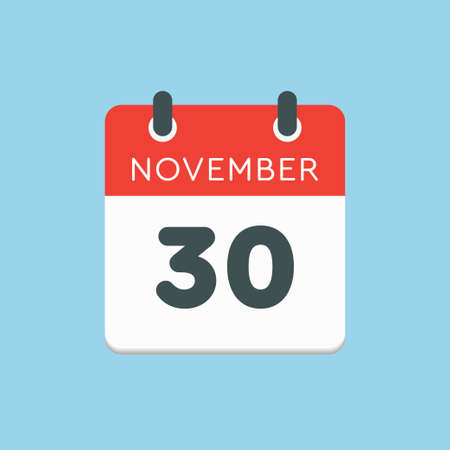 Vector icon calendar day - 30 November. Days of the year vector illustration flat style. Date day of month Sunday, Monday, Tuesday, Wednesday, Thursday, Friday, Saturday. Autumn holidays in November. Vettoriali
